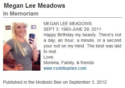 Megan Lee Meadows In Memoriam